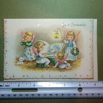 #C287- Unused Xmas Greeting Card Angels Playing Music & Reading The Bible