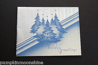 #D339- Vintage Xmas Greeting Card Amazing Evergreen Trees Accented in Silver