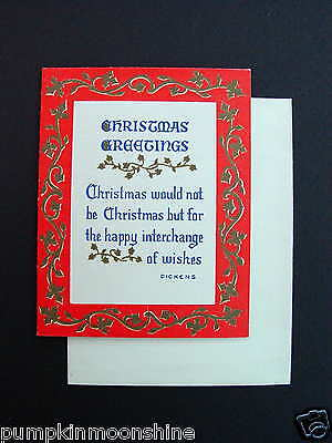 #E192- Vintage Unused Norcross Xmas Greeting Card Dickens Holiday Greetings