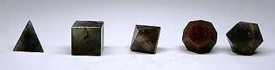 5 Pcs Labradorite Crystal Platonic Solids Sacred Geometry Set In Box Szd6
