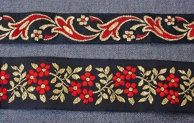 3 VINTAGE EMBROIDERY GOLDEN METAL & RED THREADS FLOWERS BLACK TRIMS