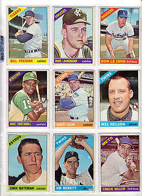 1966 Topps EX lot of 9: minor stars rookies commons clean lot $36 Book Value