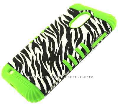 Green Silicone+TR Silver Zebra Cover Case Samsung Galaxy S2 Epic 4G Touch D710