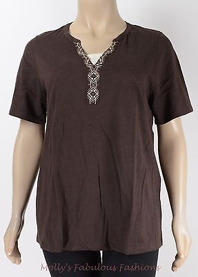 A55~NEW CATHERINE'S CHOCOLATE EMBROIDERED COTTON Top Plus Size 1X 18/20W