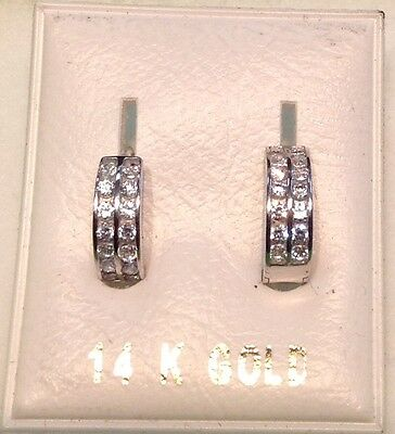 New 14K White Gold Small DOUBLE Huggies w/Dia-Free Shipping!