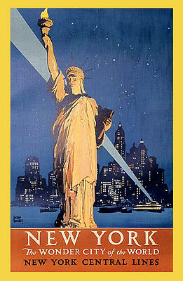 NEW YORK STATUE LIBERTY WONDER CITY OF THE WORLD VINTAGE POSTER REPRO LARGE