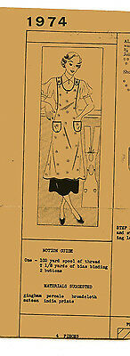 VINTAGE SEWING PATTERN  MAIL AWAY  1930s WOMEN'S APRON BUST 34
