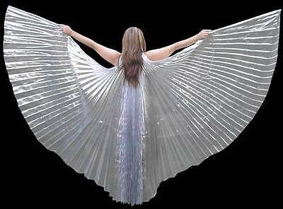 High Quality Gorgeous Sexy Belly Dance Costume SILVER ISIS WINGS...With Sticks
