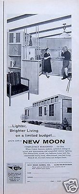 """1959 VINTAGE AD: New Moon Trailer Manufactured Home """"Brighter Living on Budget"""""""