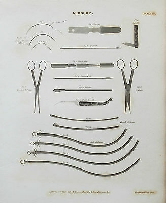 1810 Surgery Surgical Instruments Catheters Probes Needles Antique Print Rees