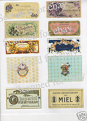 Vintage Ladies French Perfume Soap Label Collage   PH56