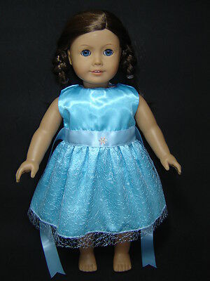 Blue Sparkle Party Dress for 18'' American Girl Doll Handmade Clothes AG427