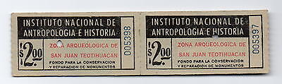 2 Tickets to Teotihuacan Archeological Sight Mexico 1950s
