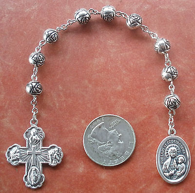 Handmade Our Lady of Czestochowa Chaplet + Silver-tone *Rosebuds* + Rosary