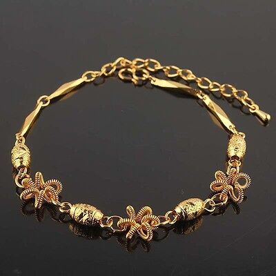 New Womens 14k Yellow Gold Filled Chain Pentagram Bracelet Bangle Jewelry BB2007