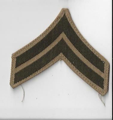 VINTAGE ORIGINAL WWII WW2 U.S. ARMY CORPORAL CHEVRON- SINGLE PIECE KHAKI BACKING