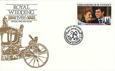 (42251) St Vincent FDC Prince Andrew Fergie Royal Wedding 18 July 1986