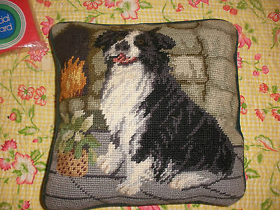 Vintage Wool Needlepoint  Pillow Black and White Dog by the Fire