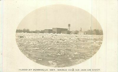 1912 Real Photo Postcard  March Ice Jam on River Causes Flood DUNNVILLE Ontario