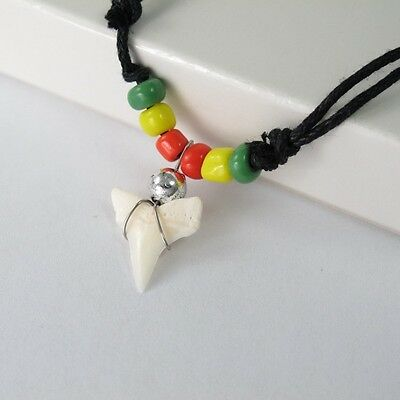 NEW Sexy Surfer Reggae Marley Peace Shark Tooth Fossil Pendant Cotton Necklace