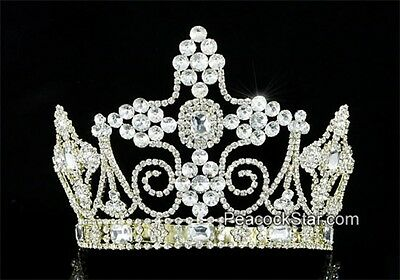 Men's Adjustable Imperial Pageant Tall Tiara Full Circle Crystal Gold King Crown