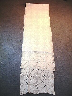 Antique Large 4.4 M / 14.5 Ft Greek Handmade Cotton Crochet Table Runner Rare!