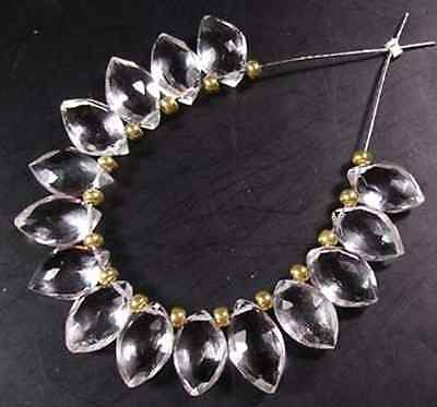 14 NATURAL ROCK CRYSTAL QUARTZ FACETED MARQUISE BRIOLETTE BEADS 9-10 MM  E4