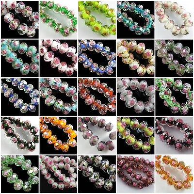 100pcs Mixed Color Faceted Glass Rose Flower Inside Lampwork Beads Spacer 12mm