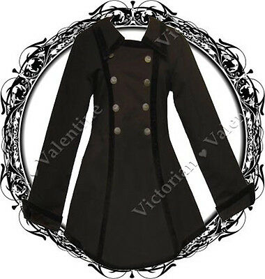 Steampunk Victorian Historical Pirate Gothic Vintage Antique Look Black Jacket S