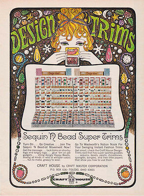 CRAFT HOUSE SEQUIN 'N BEAD DESIGN TRIMS AD 1968 Magazine Advertisement Page 60s
