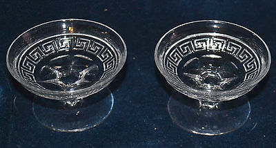 PAIR OF HEISEY GLASS GREEK KEY ALMOND BOWLS, MARKED