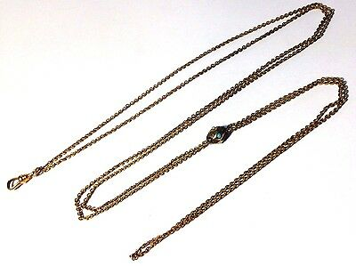 "25"" Long Gold Filled Antique Victorian Etruscan Turquoise and Pearl Slide Fob"