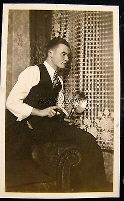 1937 Young Handsome Man, Photographer with Camera Photo B&W Snapshot
