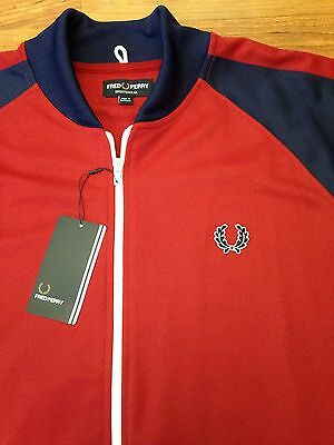 New! Authentic Fred Perry Bomber Track Jacket Red & Blue Size 2XL XXL  Mod NWT!