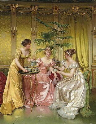 Canvas Print Palace Ladies leisure time Oil painting Picture Printed on canvas
