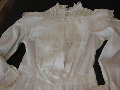 ANTIQUE VICTORIAN EDWARDIAN YOUNG GIRLS DRESS FRENCH VALENCIENNES LACE