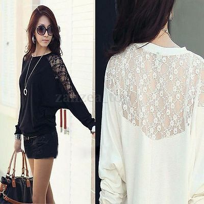 Fashion Women Round Neck Batwing Top Loose T-Shirt Lace Long Sleeve Tops Blouse