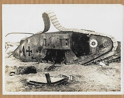 WWI Captured British Tank Used by Germans Knocked Out 6x8 Original News Photo