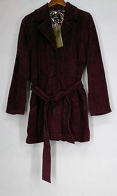 Dennis Basso Sz M Washable Suede Trench Style Burgundy Red Coat