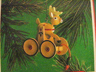 1986 Hallmark WOODEN REINDEER Ornament PULL TOY Free Shipping