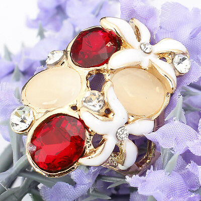 14K Gold Filled Size 9.5 Ruby Austrian Crystal Opal Flower Ring Jewelry F382