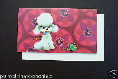 Vintage Unused Norcross Xmas Greeting Card White Fluffy Poodle on Pink Flowers