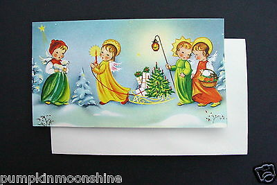 Vintage Unused Norcross Xmas Greeting Card Angels Walking in Forest with Tree