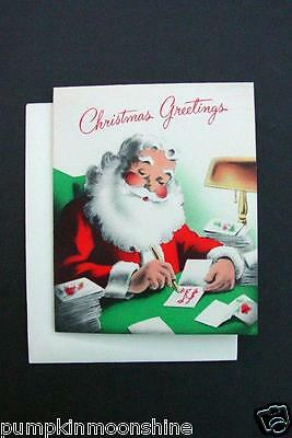 Vintage Unused Norcross Xmas Greeting Card Jolly Santa Writing Holiday Letters