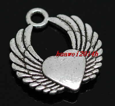 6pcs auspicious Tibet Silver Winged Winged heart Jewelry Charm pendant 22x20mm
