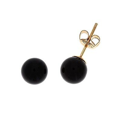 14KT YELLOW GOLD - 6 MM. ROUND SHAPED GENUINE NATURAL BLACK ONYX STUD EARRINGS