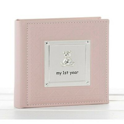 Deluxe Baby Girl Pink My First Year Photo Album Record Book Christening Baby