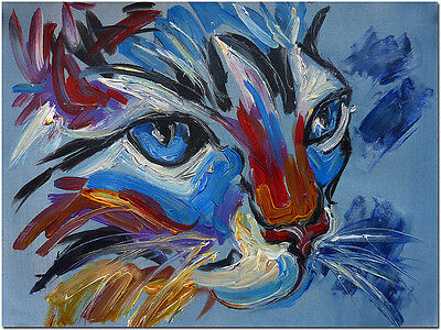 Stare of a Cat - Hand Painted Modern Abstract Kitten Oil Painting Art On Canvas