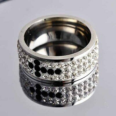 stainless steel 3-Row Circle CZ With Black Cross Band Ring SZ 6# D1001