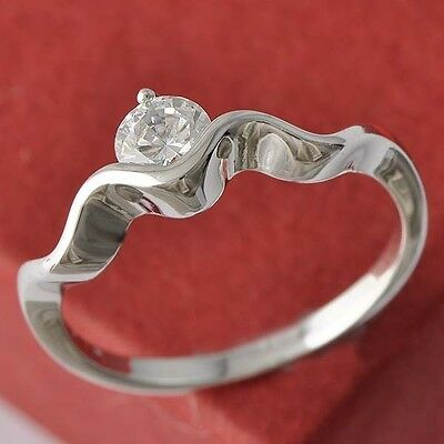 """Cute White Gold Filled Clear CZ """"S""""Style Ring for Girls Gift SZ 6#A4382"""